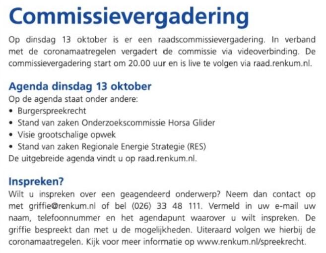 Gemeente en energiebeleid in Raadscommissie 13 oktober a.s.